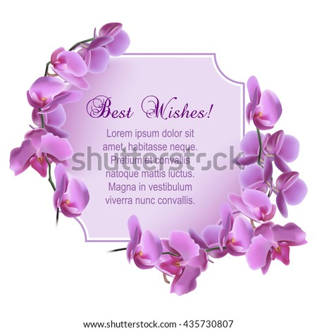 Vintage greeting card with blooming flowers, 'Best Wishes' wording and place for your text. Vector illustration - stock vector