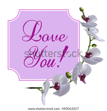 Vintage greeting card with blooming flowers, 'Love You' wording and place for your text. Vector illustration - stock vector