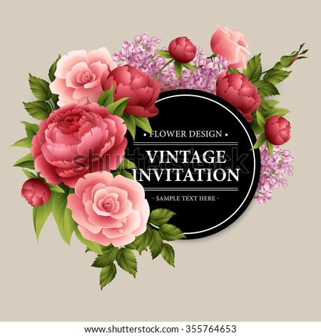 Vintage  Greeting Card with Blooming Flowers.  Vector Illustration EPS10 - stock vector