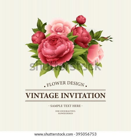 Vintage  Greeting Card with Blooming peony and rose Flowers.  Vector Illustration EPS10 - stock vector