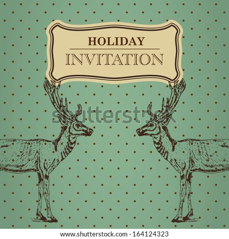 Vintage greeting holiday invitation card with polka dotted background and handrawn reindeers - stock vector
