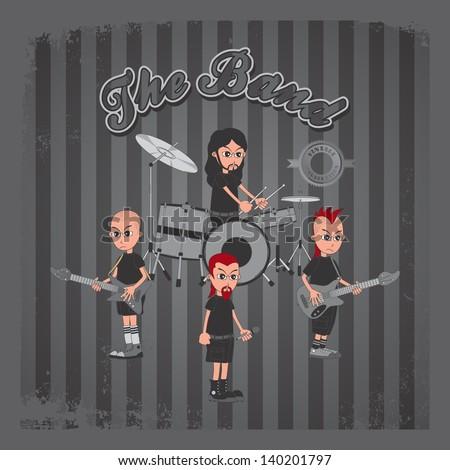 vintage grey theme of cartoon live band - stock vector