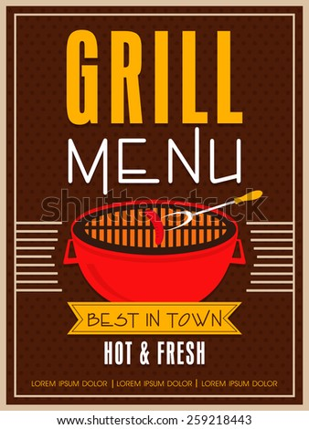 Vintage Grill Menu Card design for restaurant, can be used as template, poster or flyer design. - stock vector