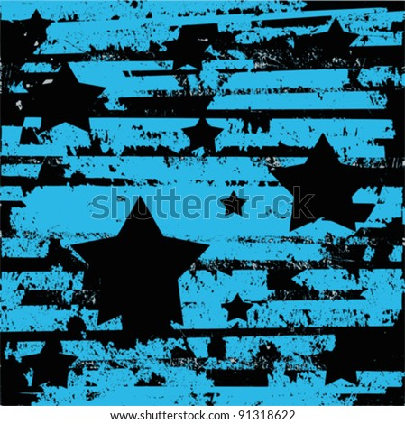 vintage grunge blue and black vector design with stars - stock vector