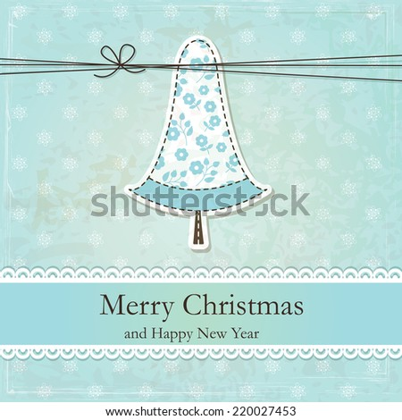 Vintage grunge Christmas background  with cute Christmas Tree - stock vector