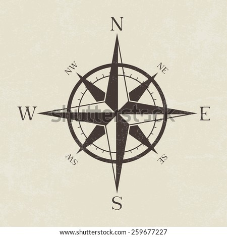 Vintage grunge compass - Vector - stock vector