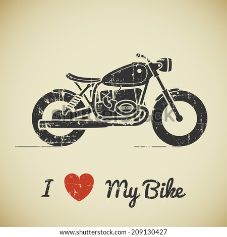 Vintage grunge flat looking motorcycle and text on beige background - stock vector