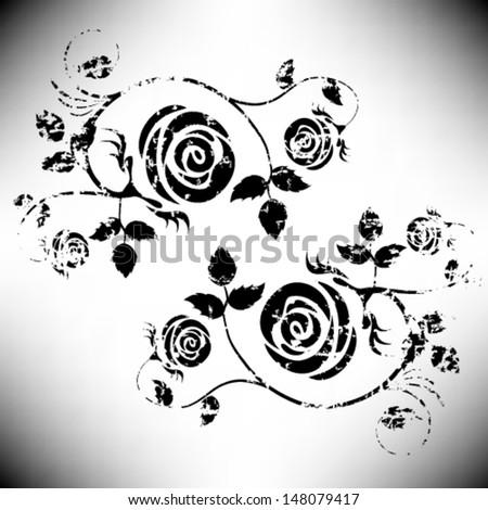 Stock vector vintage grunge flower vector rose element black