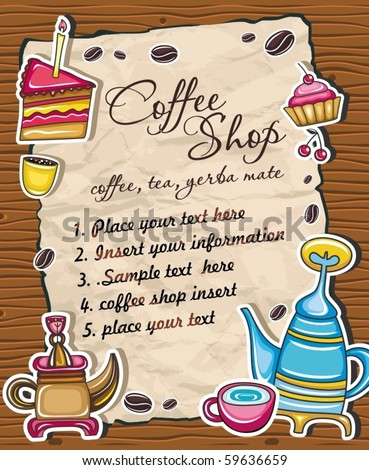 Vintage grunge frame with coffee, tea, cake symbols, isolated on wooden background. - stock vector