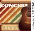 Vintage guitar poster - stock vector
