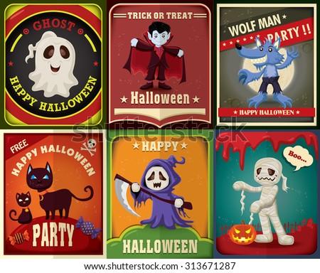 Vintage Halloween character poster design set - stock vector