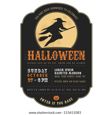 Vintage Halloween invitation with witch flying on a broom - stock vector