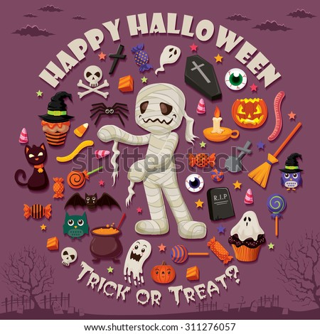 Vintage Halloween poster design set - stock vector