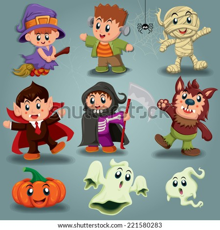 Vintage Halloween poster design with kids in costume - stock vector