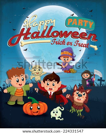 Vintage Halloween poster design with kids in costume - stock vector