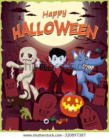 Vintage Halloween poster design with mummy, vampire, wolf man - stock vector