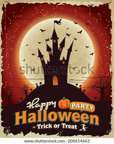 Vintage Halloween poster set design with castle - stock vector