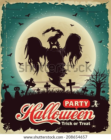 Vintage Halloween poster set design with ghost - stock vector