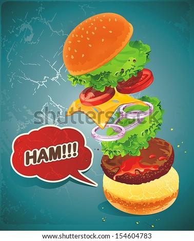 Vintage Hamburger illustration with grunge effect-flying ingredients - stock vector