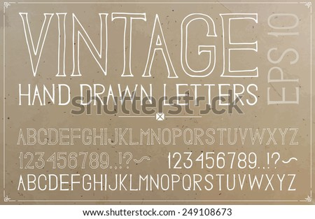 Vintage hand drawn alphabet on plywood background - stock vector