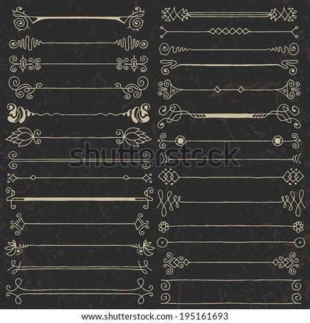 Vintage hand drawn design elements set 2 on dark. Vector illustration. - stock vector