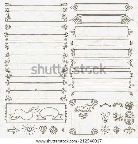 Vintage hand drawn design elements set 4. Vector illustration. - stock vector
