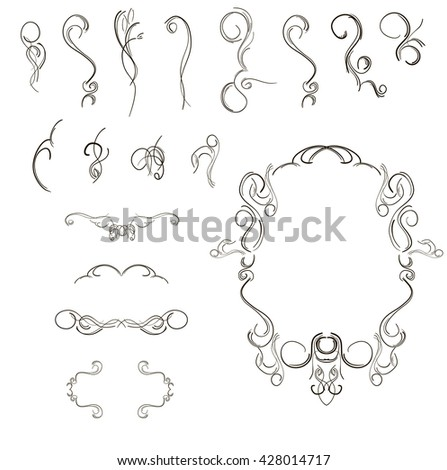 Vintage hand drawn engraving design floral frames and design elements vector illustration - stock vector