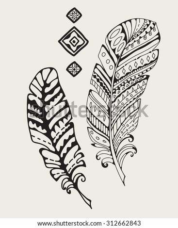 Vintage hand-drawn feathers, tribal elements, Vector - stock vector