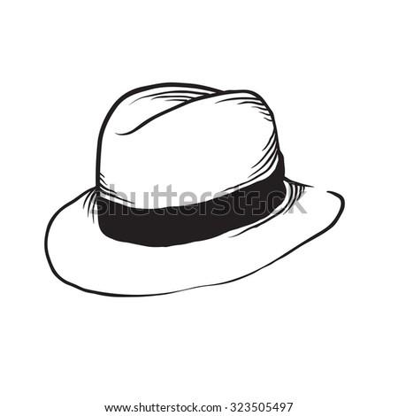 Vintage Hand Drawn Fedora Hat