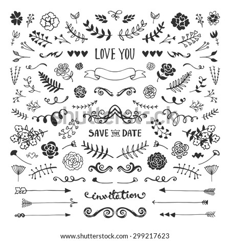 Vintage hand drawn floral elements collection. Vector sketch set. Illustration with flowers and leaves, arrows and frames. - stock vector