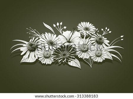 Vintage hand drawn flowers. Elements are layered separately in vector file. Global colors. - stock vector