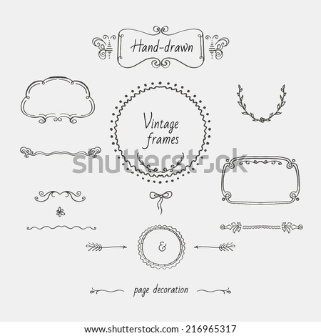 Vintage hand-drawn frames and page decoration - stock vector