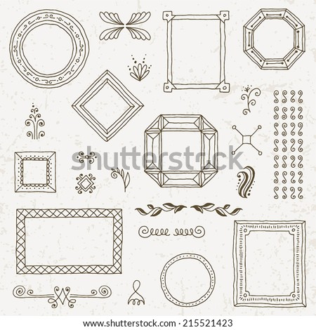 Vintage hand drawn frames collection set. Vector illustration. - stock vector