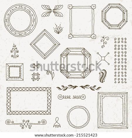 Vintage hand drawn frames collection set. Vector illustration. - stock vector