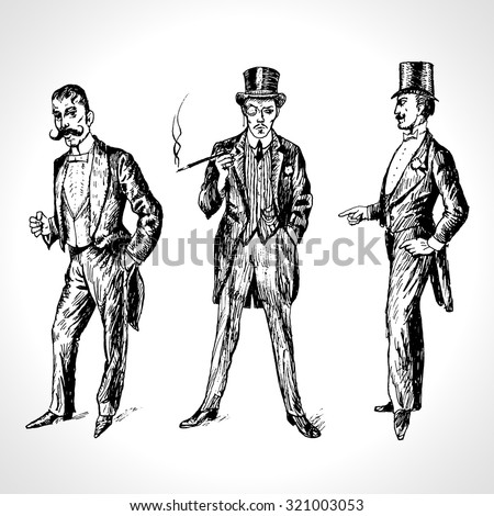 Vintage Hand Drawn Gentlemen Set. Men's fashion of the 20s. Illustration in ancient engraving style - stock vector