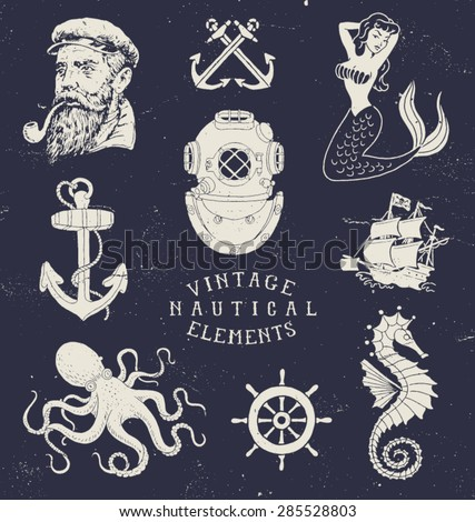 Vintage Hand Drawn Nautical Set - stock vector