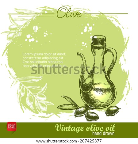 Vintage hand drawn olive oil bottle on watercolor background. Sketch style. - stock vector