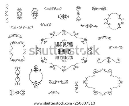 Vintage hand drawn set of frames and design elements.  - stock vector
