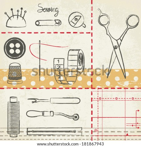 Vintage hand drawn sewing related poster - stock vector