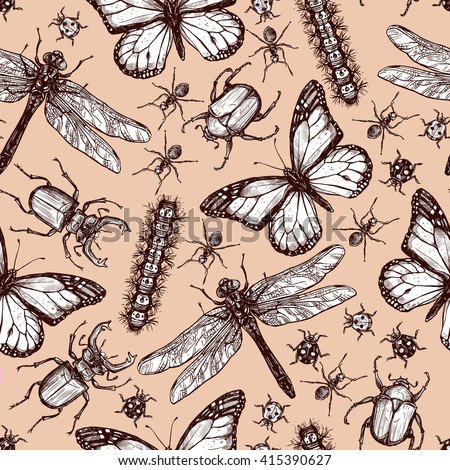 Vintage hand drawn sketch of different insects dragonfly butterfly beetle seamless pattern vector illustration - stock vector