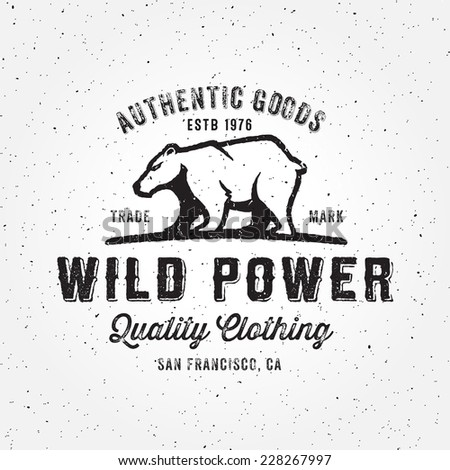 Vintage handmade bear badge logo label icon design - stock vector