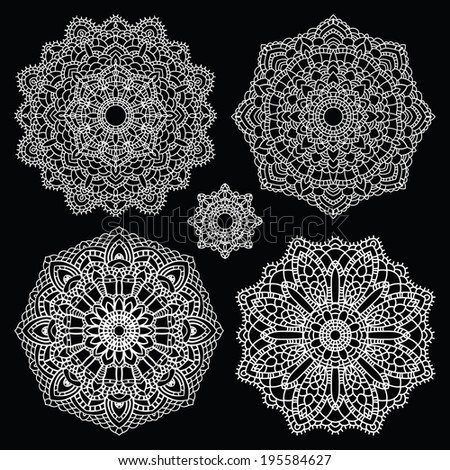 Vintage handmade knitted doily. Round lace pattern set. Vector illustration. - stock vector