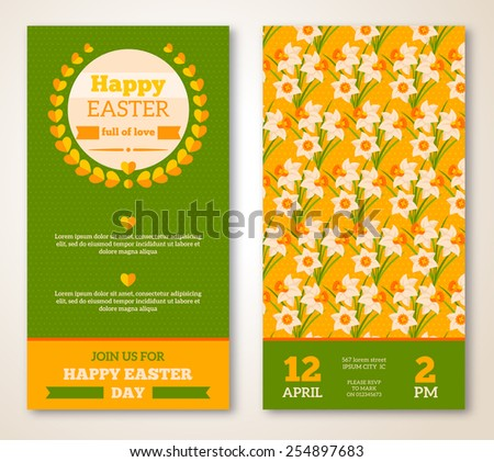 Vintage Happy Easter Greeting Card Design. Vector Illustration. Retro Banners with Floral Pattern. Easter Frame. Easter Egg Hunt Flyer with Daffodils. - stock vector