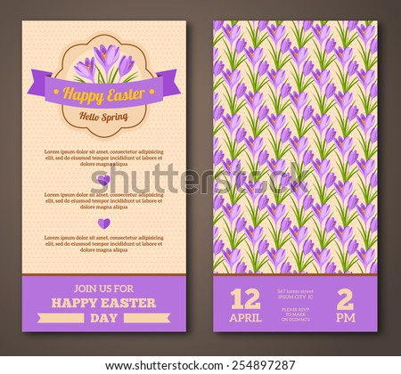 Vintage Happy Easter Greeting Card Design. Vector Illustration. Retro Banners with Pattern. Easter Frame with Crocuses. - stock vector
