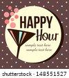 Vintage happy hour Invitation - stock vector