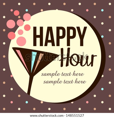 Vintage happy hour Invitation - stock vector