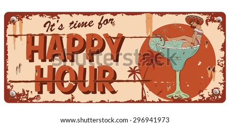 Vintage happy hour sign, illustration of mexican woman in a margarita glass - stock vector