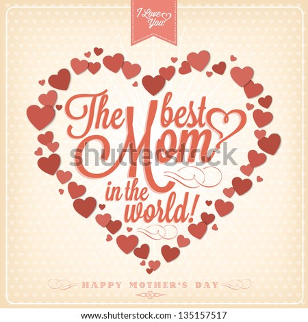 VIntage Happy Mothers's Day Typographical Background With Hearts - stock vector