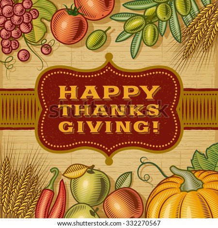 Vintage Happy Thanksgiving Card. Editable EPS10 vector illustration with clipping mask and transparency. - stock vector