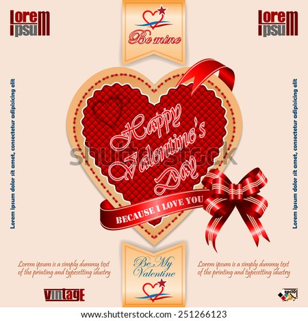 Vintage Happy Valentine's Day background with Because I love You text on ribbon and nice heart logo.  - stock vector